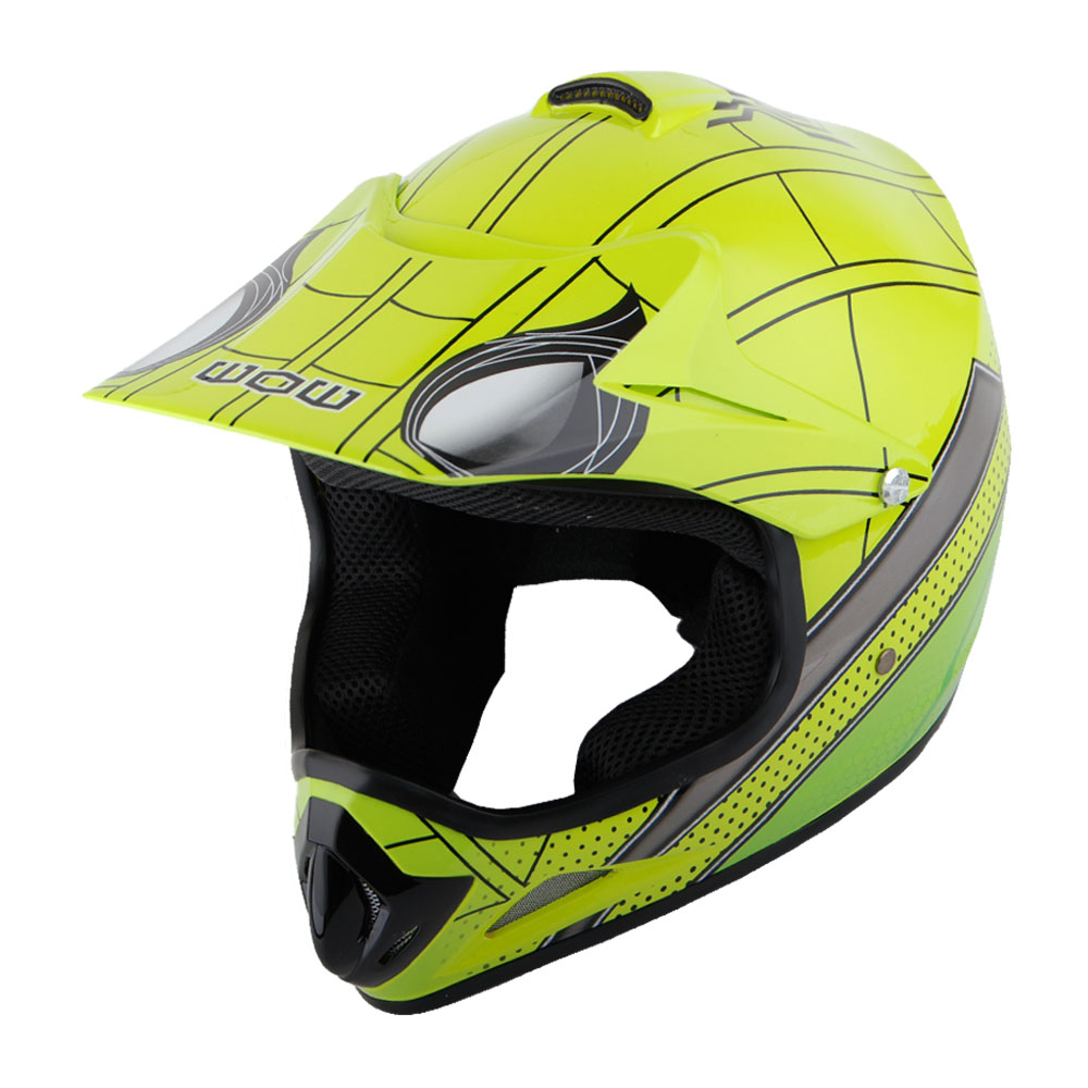 New Youth Kids Motocross Motorcross MX BMX Bike Helmet Spider Green S ...